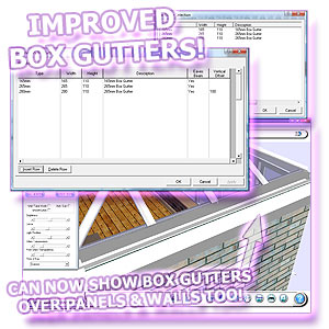 Conservatories software now boasts extended box gutter functionality.