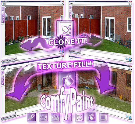 ComfyPaint integrated inside our conservatory software, providing image clone, selection copying & painting, fills & more.
