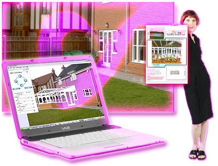 Step 3. Shows the final result for the customer. The amazing life-like 3D photo impression shown on a laptop and on a report using ComfortableConservatories.