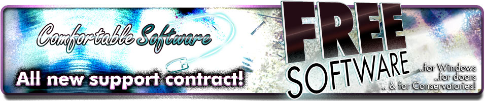 Banner describing ComfortableSoftwares new support contracts. Includes 1 free software item per contract!